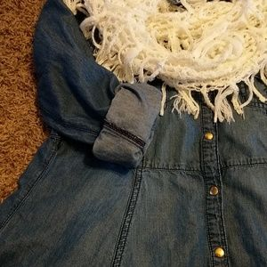 Justice Dresses - Justice bluejean dress with scarf. Size 14.